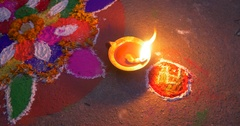 Burning oil candle on hindu celebrarion Stock Footage