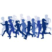 Group of children silhouettes running Stock Illustration