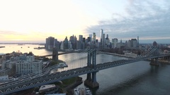 Aerial Shot of NYC's skyline at sunset - 4k Stock Footage