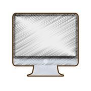 Drawing computer screen monitor technology Stock Illustration