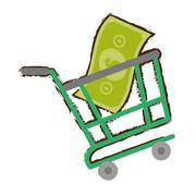 Green shopping cart online bill money sketch Stock Illustration