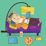 Woman lying on sofa with many gadgets Stock Illustration