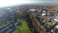 Panning aerial shot of Rowley Regis, West Midlands, UK. Stock Footage