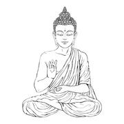 Seated Buddha in the lotus position Stock Illustration