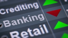 Banking index on the screen. Down. Looping. Stock Footage