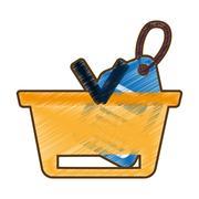 Drawing basket buying online blue price tag Stock Illustration