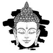 Portrait of a Buddha. Esoteric concept Stock Illustration