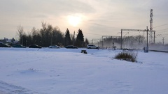 Cars on morning road in Domodedovo airport waiting train Stock Footage