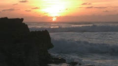 Slow Motion Waves Crashing on Rocks in Cozumel Mexico at Sunrise 3 Stock Footage