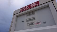 Refuel gas pump, AV gas at airport Stock Footage