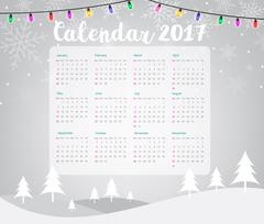 2017 Calendar on Merry Christmas and Happy New Year background Stock Illustration
