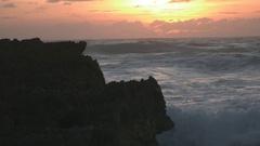 Slow Motion Waves Crashing on Rocks in Cozumel Mexico at Sunrise 4 Stock Footage