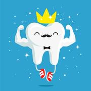 Happy healthy and strong tooth with gold crown Stock Illustration