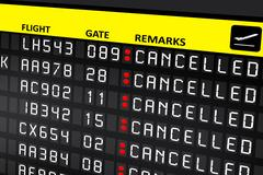 Airport billboard panel with cancelled flights Stock Photos