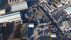 Static aerial view of an industrial estate in the Midlands. Stock Footage