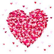 Big beautiful heart consisting of small hearts Stock Illustration