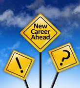 New career ahead road sign Stock Photos