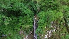 Aerial: Beautiful waterfall in Sochi. Stock Footage