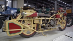 Vintage old motorbike motorcycle on display Stock Footage