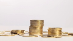 Columns of golden coins Stock Footage