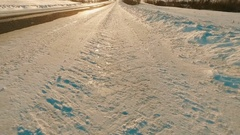 Rise above the winter road. Stock Footage