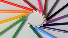 Wooden pencils arranged according to rainbow colors Stock Footage