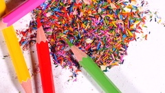 Pencils in pile of leftovers Stock Footage