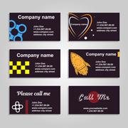 Clean business card. A set of six template in dark style Stock Illustration