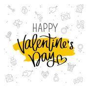 Happy Valentine's day. The trend calligraphy Stock Illustration