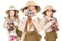 Kids in safari clothes Stock Photos
