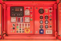 Electricity Control panel of fuel power generator Stock Photos