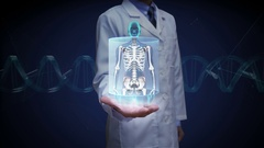 Doctor open palm, Female body and scanning Human skeletal structure, bone system Stock Footage