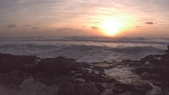 Cozumel Sunrise over Waves Crashing on the Beach Stock Footage