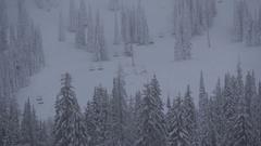 Snowy empty ski hill, empty chairlifts, quiet runs, rather odd Stock Footage