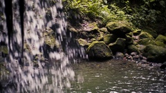 Waterfall and Tropical pool Slow Motion Stock Footage