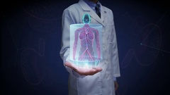 Doctor open palm,  front Female body and scanning Human blood vessel system. Stock Footage