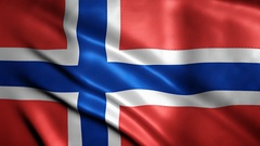 Realistic Ultra-HD flag of Norway waving in the wind. Stock Footage