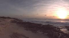 Cozumel Beach Sunrise Panning Wide Shot Stock Footage
