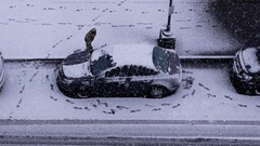 Aerial view of man cleaning snow and ice off his car wind shield window Stock Footage