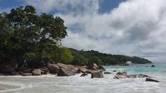 Tropical landscape of the coast of Anse Lazio, Prasin island, Seychelles Stock Footage