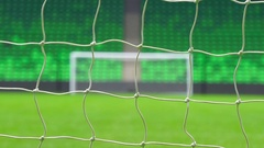 Soccer football goal through the net. World Cup Stock Footage
