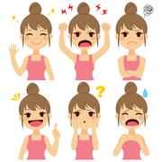 Woman Expressions Set Stock Illustration