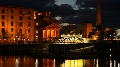 People walking about at The Albert Dock complex on Liverpool Waterfront Stock Footage