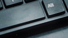 Hand pressing or pushing The Space Bar button in laptop Stock Footage