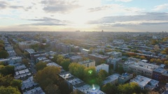 Aerial Shot of Brooklyn Brownstone homes at sunrise - 4k Stock Footage
