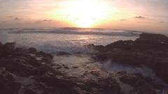 Slow Motion Waves Crashing on Rocks in Cozumel Mexico at Sunrise 5 Stock Footage