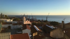 Church By Tagus River In Lisbon Sunrise Top View, Portugal Stock Footage