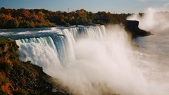 Fall at Niagara Falls. Aerial view of one of the most popular tourist Stock Footage