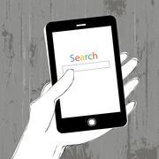 Smartphone in hand. Member Login. Wooden texture background. Design template Stock Illustration