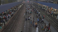 Railway station in India Stock Footage